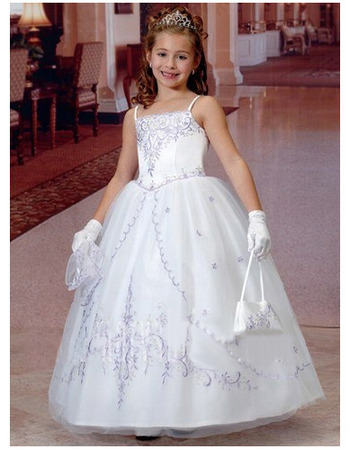 Princess Spaghetti Straps Embroidery First Communion Dresses with ...