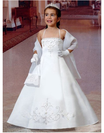 Beautiful Spaghetti Straps A-line Embroidery Satin First Communion Dresses with Wrap
