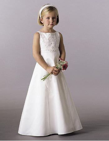 Little Girls Lovely A-Line Beaded Satin Ivory First Communion Dresses