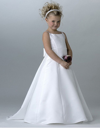 Lovely A-Line Beaded White Satin First Communion Dresses with Keyhole Back