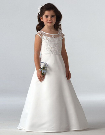 Pretty A-Line Round Floor Length Lace First Communion Dresses/ Flower Girl Dresses