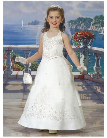 Lovely A-Line Halter Floral Ankle Length Satin First Communion Dresses