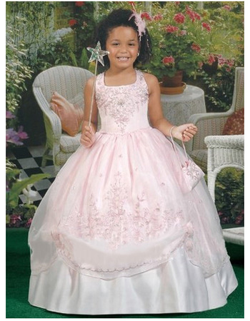 Luxury Beaded Appliques Ball Gown Square Organza Full Length Floral First Communion Dresses