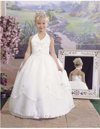 Gorgegous White Ball Gown Halter Full Length Layered First Communion Dresses/ Discount Flower Girl Dresses