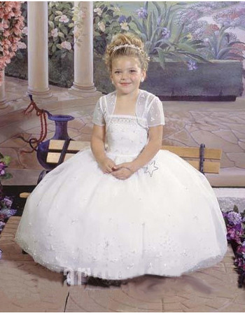 Custom Princess Ball Gown Spaghetti Straps White Tulle First Communion Dresses with Jacket