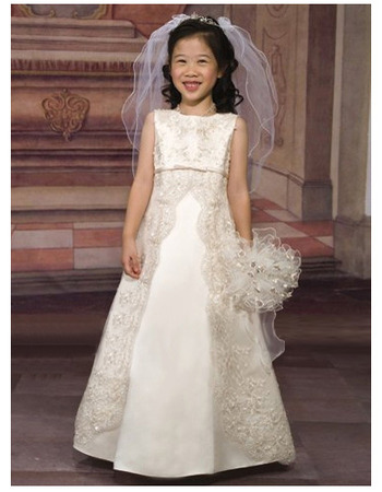Most Popular Lace Appliques Empire First Communion Dresses/ Beautiful Flower Girl Dresses
