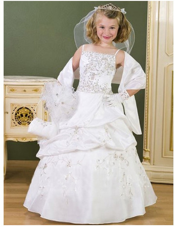 Gorgeous Ball Gown Spaghetti Straps Pic-up White First Communion Dresses/Floor Length Beading Satin Flower Girl Dresses with Wra