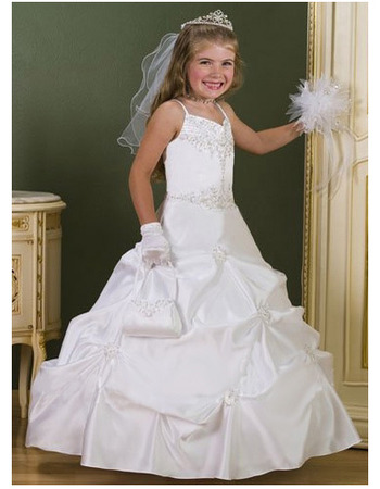 Gorgeous Ball Gown Sweetheart Beaded White First Communion Dresses ...