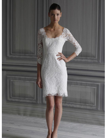 Elegant Short Sheath Square 3/4 Length Sleeves Lace Mini Reception ...