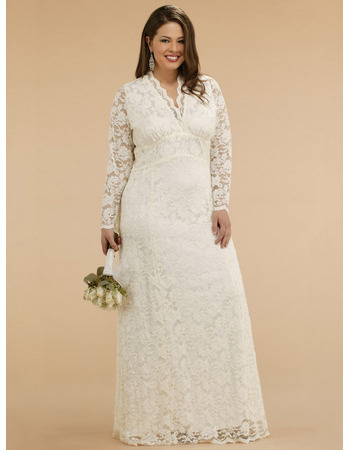 Empire v neck lace long sleeves plus size wedding dress floor empire v neck lace long sleeves plus size wedding dress floor length embroidery reception junglespirit Image collections