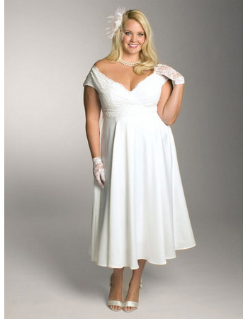 Inexpensive Custom V-Neck Cap Sleeves Tea Length Chiffon Plus Size Wedding Dresses