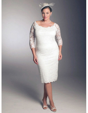 Elegant Sheath/ Column Round Knee Length 3/4 length Sleeves Lace Plus Size Wedding Dresses