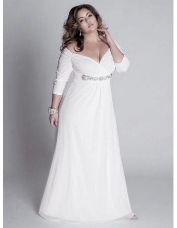 Elegant V-Neck 3/4 length Sleeves Long Chiffon Plus Size Beach Wedding  Dresses