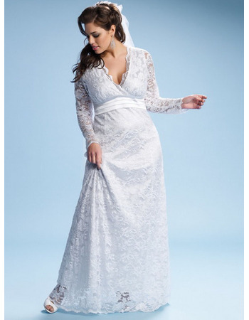 Empire Column/ Sheath V-Neck Floor Length Plus Size Lace Satin Garden  Wedding Dress with Long Sleeves