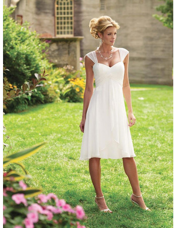 Simple Knee-length Informal Wedding Dresses/ Empire Short Reception Bridal Gowns