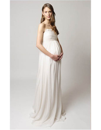 Empire Sweetheart Floor Length Chiffon Maternity Wedding Dresses/ Elegant Ivory Bridal Gowns