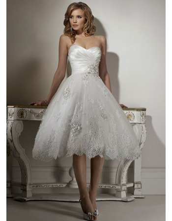 Romantic A-Line Sweetheart Tea Length Lace Reception Wedding Dresses/ Classy Short Petite Summer Bridal Dresses