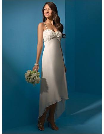 Romantic Spaghetti Straps Chiffon Asymmetrical Beach Empire Wedding Dresses/ High Low Reception Bridal Dresses