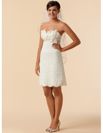 Discount Elegant Sheath Mini Lace Short Petite Reception Bridal Dresses