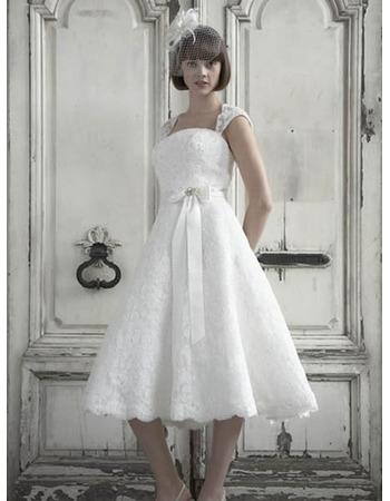 Affordable A-Line Straps Reception Lace Wedding Dresses/ Romantic ...