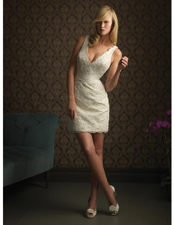 Sexy New Style Sheath V-Neck Lace Short Reception Wedding Dresses/ Custom Column Petite Wedding Gowns