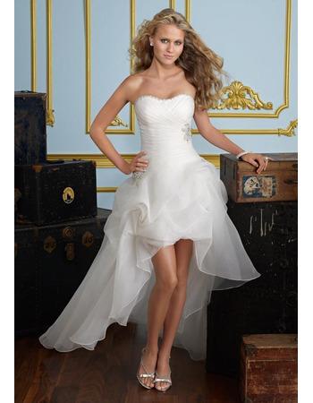 Modern A-Line Sweetheart Petite Applique Organza High-Low Garden Wedding Dresses
