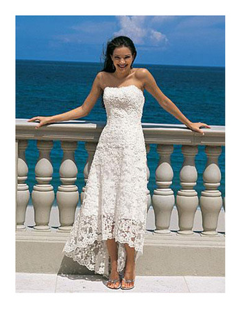 Elegant Empire Strapless Tea Length Petite Lace Beach Wedding ...
