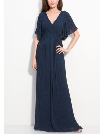 Discount Sheath V-Neck Plus Size Short Flutter Sleeves Full Length Mother of the Bride Dresses