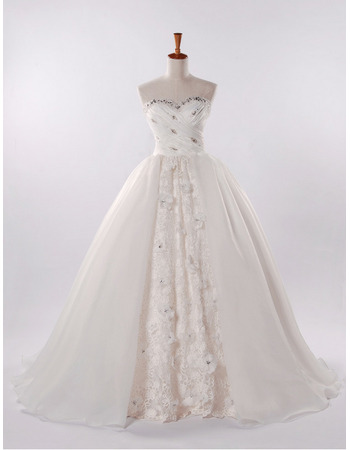 Gorgeous Crystal Beading Sweetheart Ruched Bodice Lace Organza Wedding Dresses with Split Front