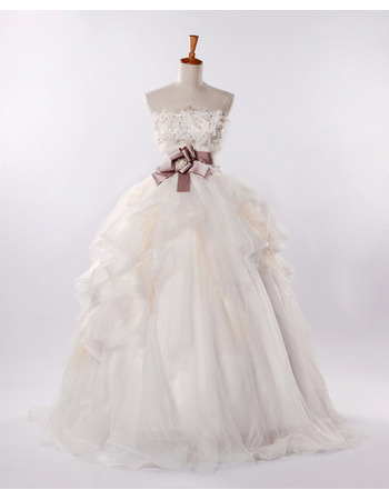 Ball Gown A-Line Strapless Bridal Wedding Dresses with Layered Draped High-Low Skirt