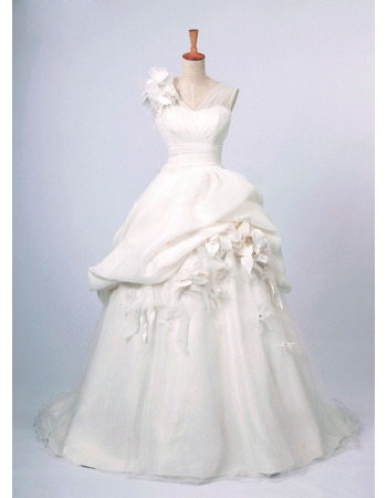 Romantic 3D-flowers V-Neck Bridal Wedding Dresses with Layered Draped High-Low Skirt