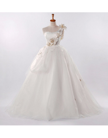 Glamorous A-Line One Shoulder Hand-made Flowers Wedding Dresses with Modified Bow Detail