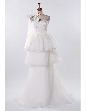 Fashionable Beaded A-Line One Shoulder Floor Length Tulle Wedding Dresses with Layered Skirt