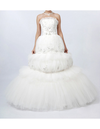 Stunning Ball Gown Ruffled Strapless Bridal Wedding Dresses with Luxury Beading Appliques