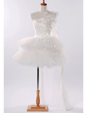 Inexpensive A-Line One Shoulder Short Layered Tulle Bridal Wedding Dresses