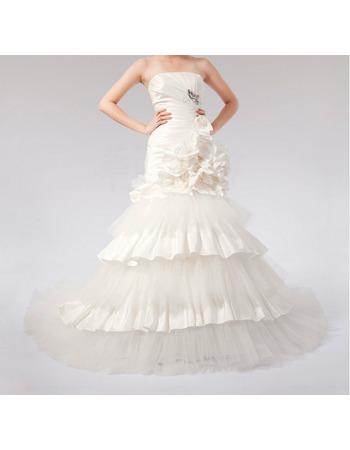 Fall Sexy Mermaid Taffeta Organza Tiered Strapless Long Church Bridal Wedding Dresses