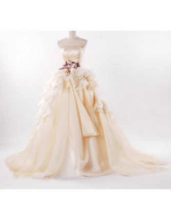Whimsical Fall Ball Gown Bridal Wedding Dresses with Layered Draped High-Low Skirt
