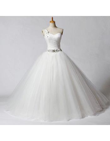 Elegant Ball Gown One Shoulder Beaded Waist Tulle Wedding Dresses