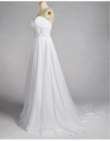 Shimmering Crystal Beading A-Line Sweep Train Chiffon Beach Wedding Dresses with Low Back