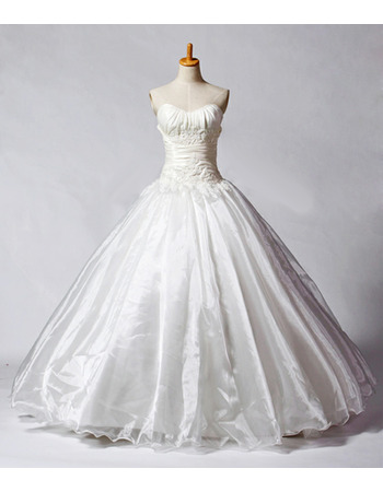 Elegant Ball Gown Sweetheart Ruched Bodice Taffeta Organza Wedding Dresses with Beadings Detailing