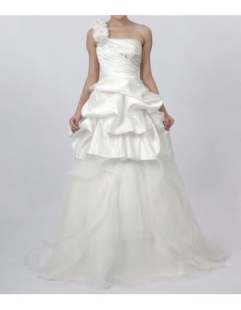 Romantic A-Line Ruffled One Shoulder Wedding Dresses with Pic-up Peplum