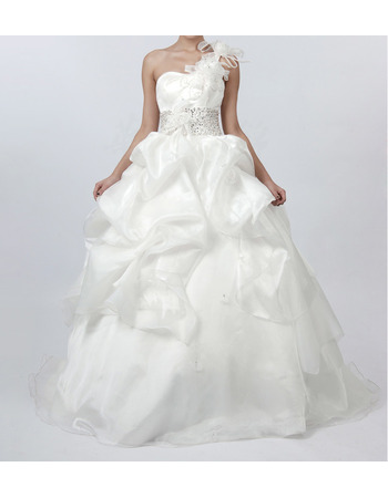 Romantic Beaded Waist Wedding Dresses with Pic-up Layered Draped High-Low Skirt