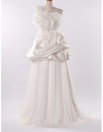 Modern Feather Bodice A-Line One Shoulder Wedding Dresses with Detachable Bridal Gown