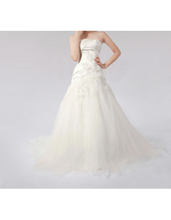 Elegant A-Line Strapless Slight Pleated Detail Satin Tulle Wedding Dresses With Appliques