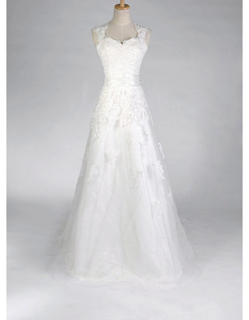 Discount A-Line Sweetheart Lace Satin Applique Beaded Wedding Dresses with Daring Open Back