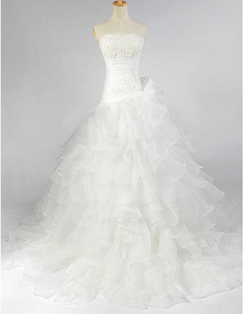 Elegant A-Line Beaded Lace Appliques Bust Ruffle Organza Wedding Dresses with Layered Skirt