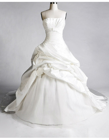 Elegant A-Line Strapless Taffeta Wedding Dresses with Pic-up Layered Draped High-Low Skirt