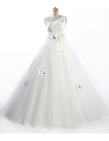 Romantic A-Line Crystal Detailing One Shoulder Wedding Dresses with Hand-made Flowers