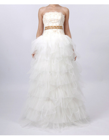 Attractive A-Line Beaded Bodice Ruched Tiered Tulle Bridal Wedding Dresses