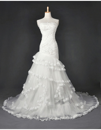 Exquisite Elegant Beading Appliques Mermaid Allover Ruched Tulle Wedding Dresses with Layered Skirt